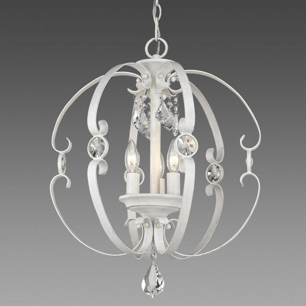Golden Lighting Ella 3-Light Pendant in French White, , large
