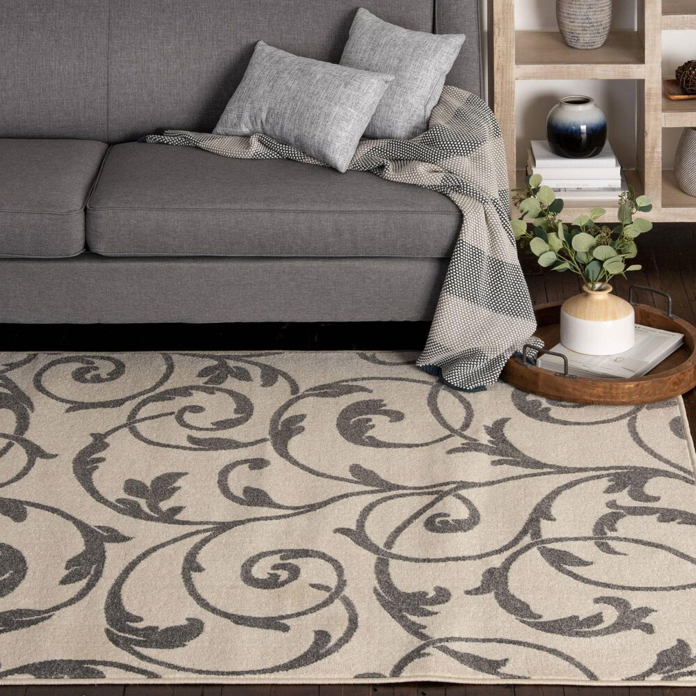 "Central Oriental Terrace Tropic Macala 2327NE.084 6'7"" x 9'6"" Snow and Stone Area Rug, , large"