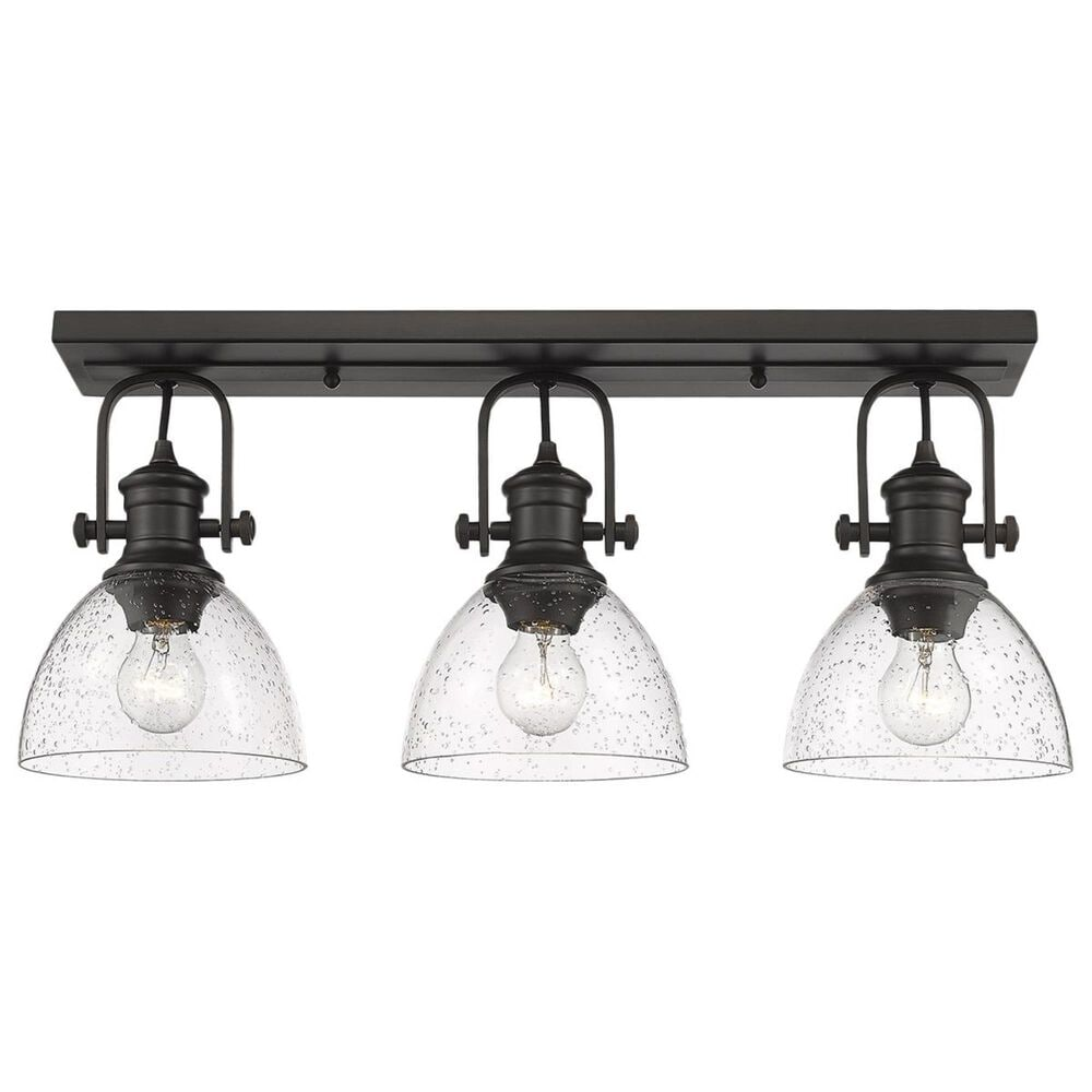 Golden Lighting Hines 3-Light Semi Flush in Rubbed Bronze with Seeded Glass, , large