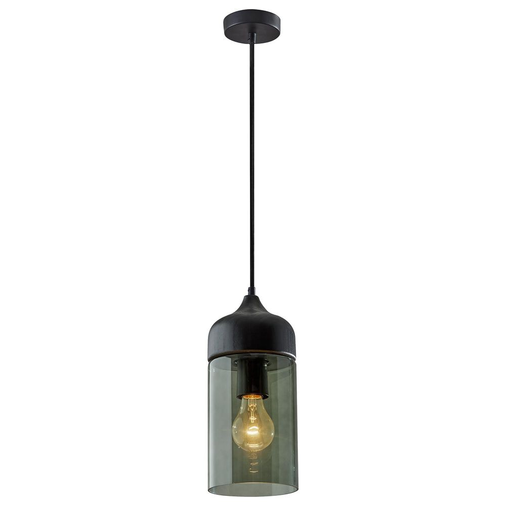 Adesso Marina Pendant in Black and Smoked Glass, , large