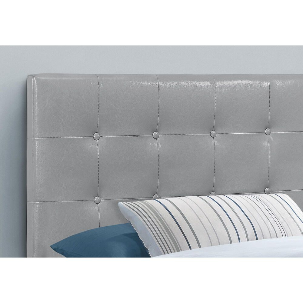 Monarch Specialties Twin Button Tufted Headboard in Grey, , large
