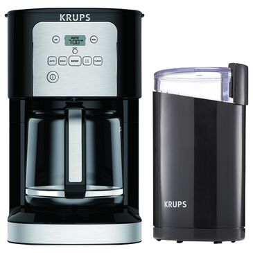 Krups 12-Cup ThermoBrew Programmable Coffee Maker with Grinder Bundle in Black, , large