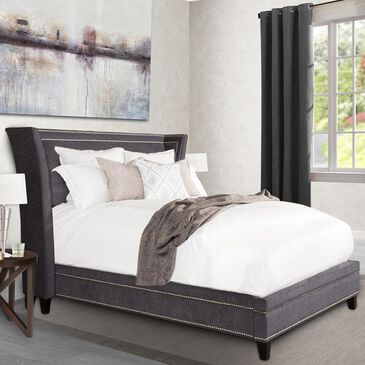 Simeon Collection Leah Queen Upholstered Bed in Granite, , large