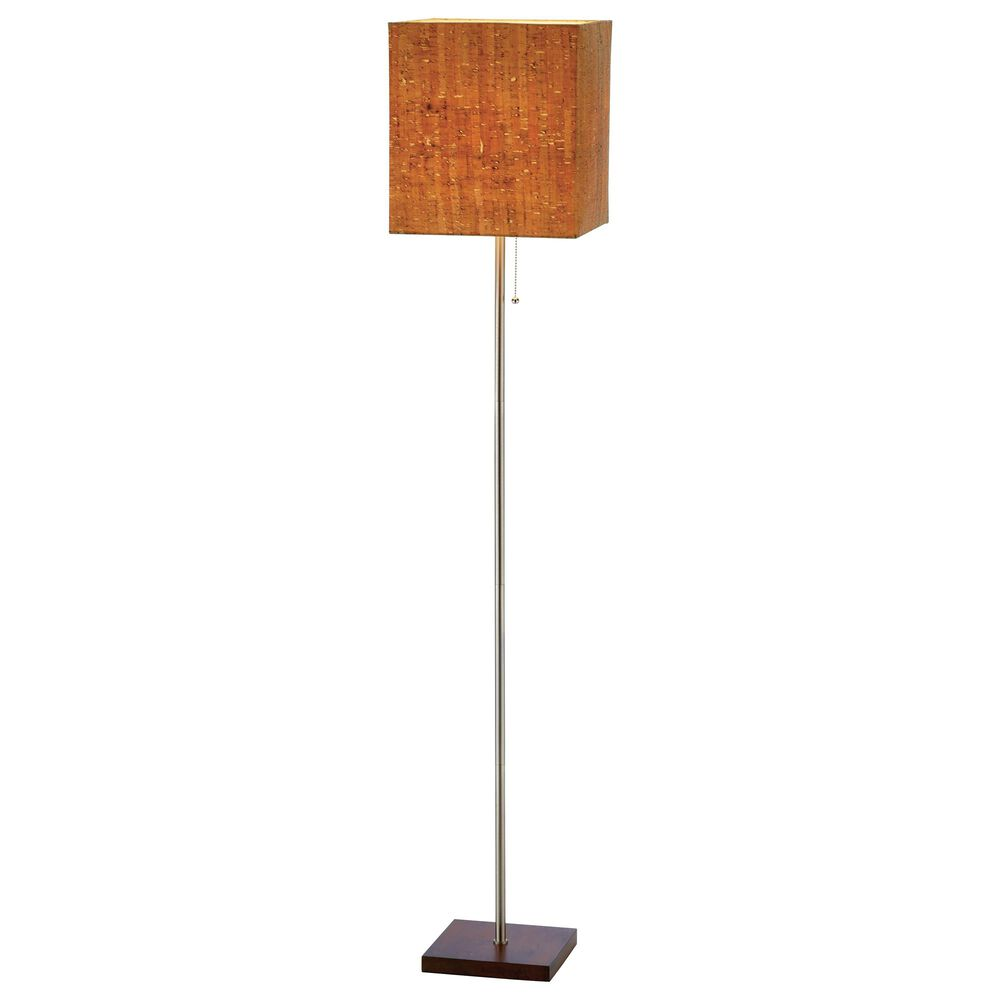Adesso Sedona Floor Lamp in Walnut and Brushed Steel, , large
