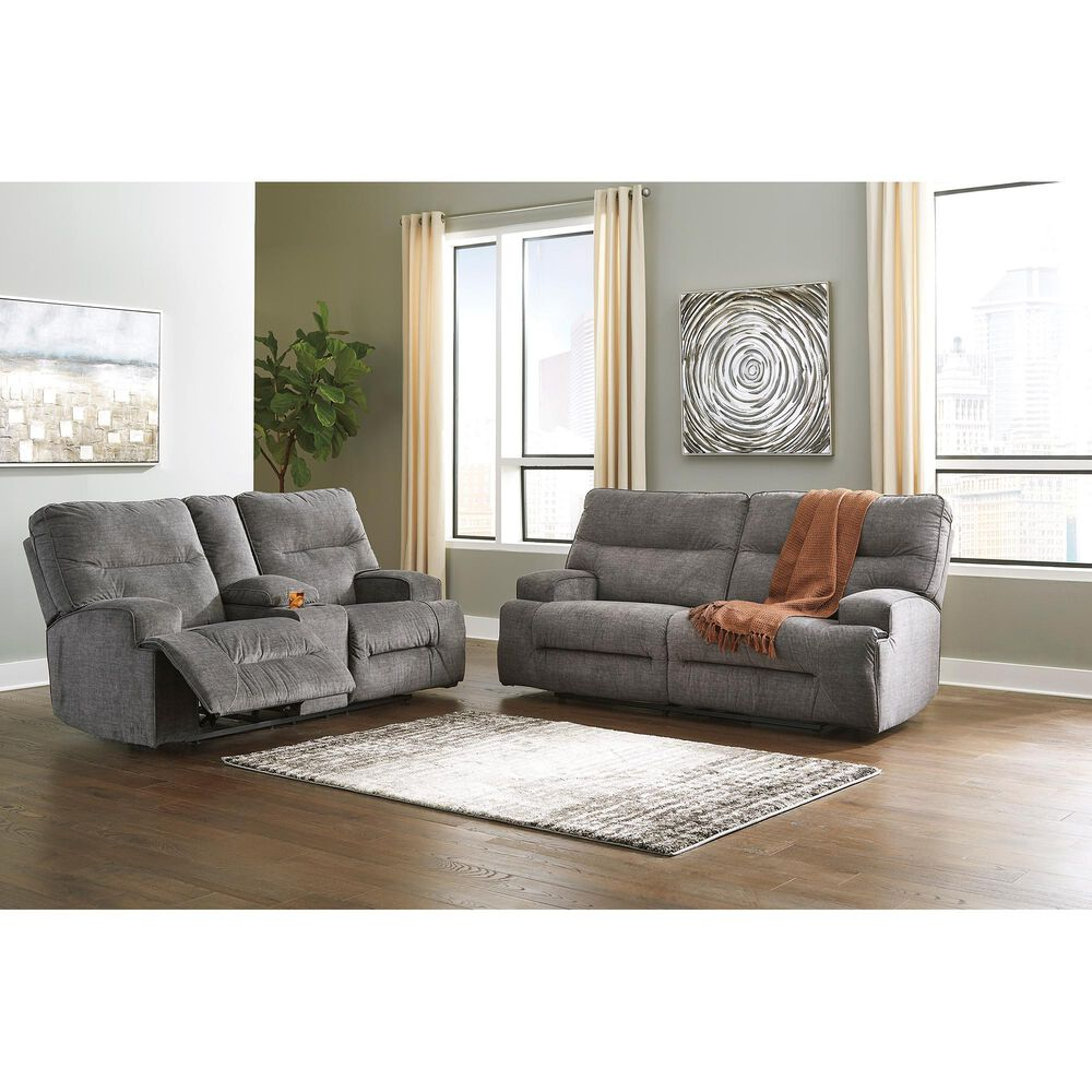Benchcraft Coombs Double Reclining Loveseat with Console in Charcoal, , large