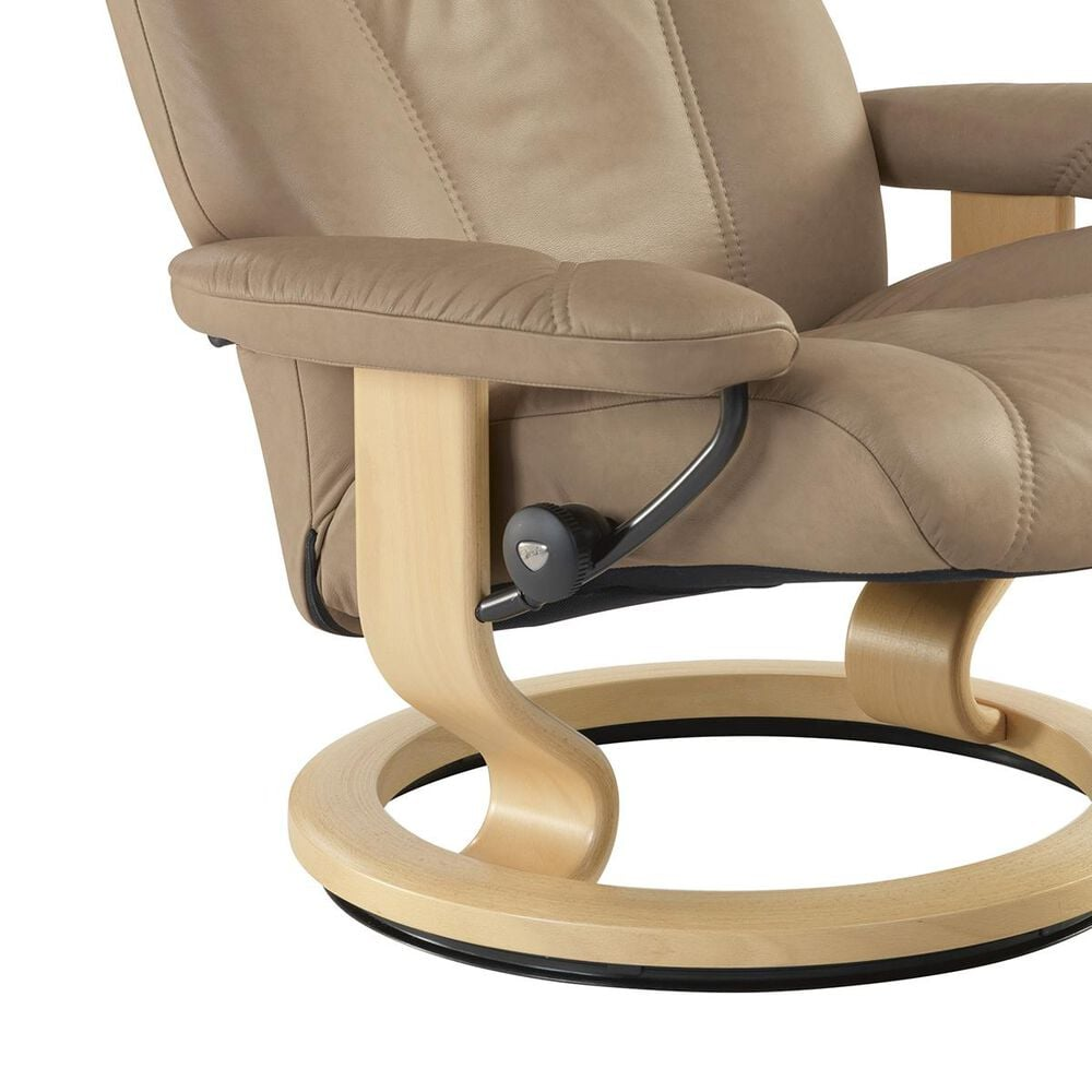 Ekornes Consul Small Chair and Ottoman with Natural Base in Batick Latte, , large