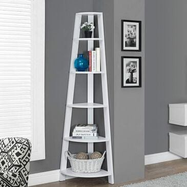 Monarch Specialties 72 in. Corner Accent Etagere in White, , large