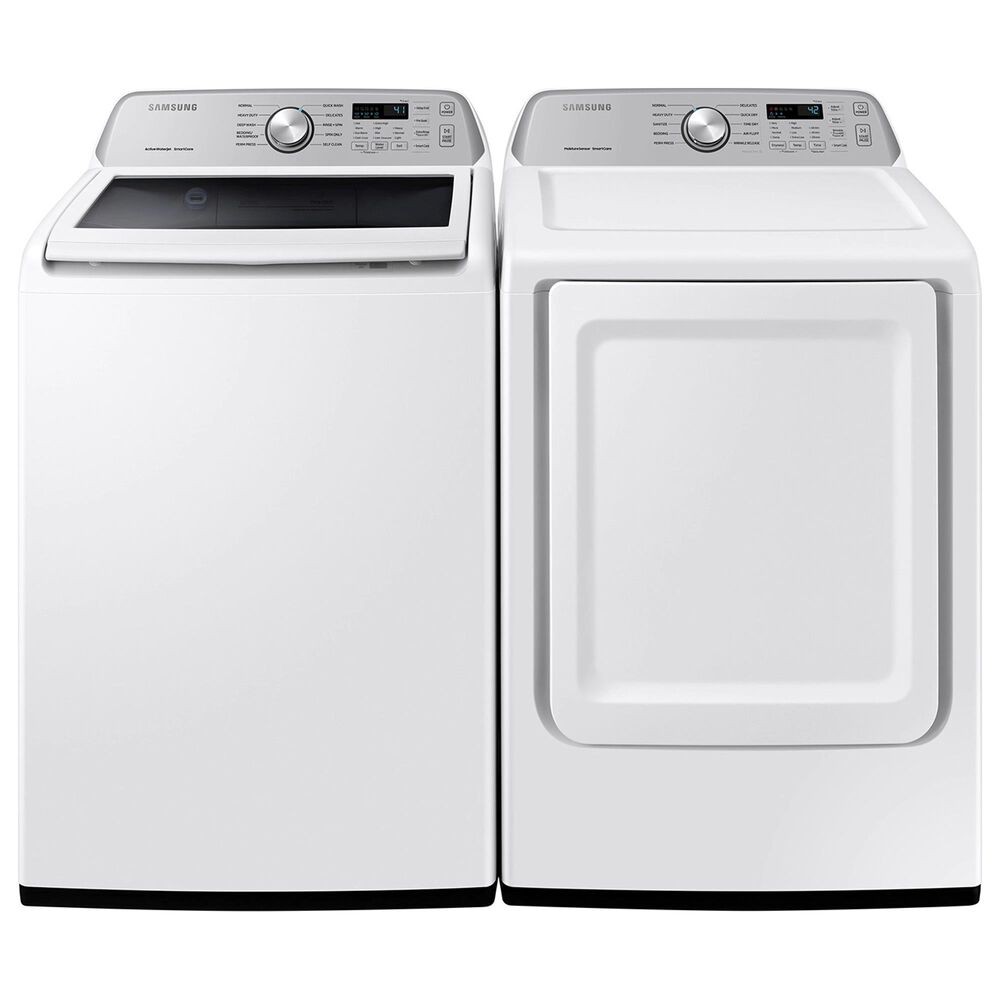 Samsung 4.5 Cu. Ft. Top Load Washer and 7.4 Cu. Ft. Electric Dryer Laundry Pair Sensor Dry and Smart Care in White, , large