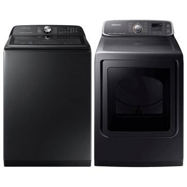 Samsung 5.0 Cu. Ft. Top Load Washer and 7.4 Cu. Ft. Electric Dryer Laundry Pair in Black Stainless Steel, , large