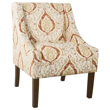 Kinfine HomePop Accent Chair in Burnt Orange and Cream, , large