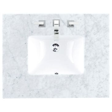 "James Martin 30"" Single Vanity Top with Rectangle Sink in Carrara White, , large"