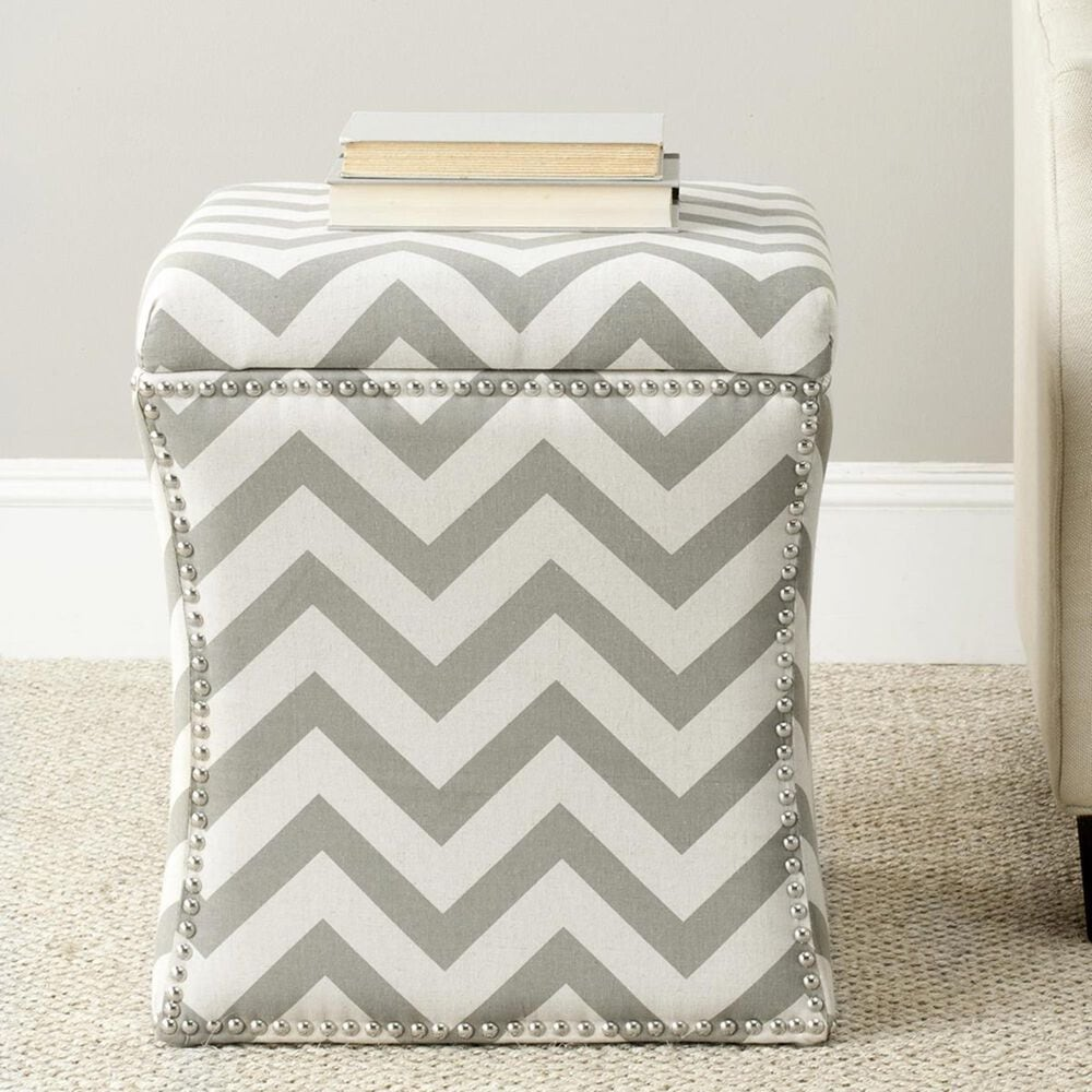 Safavieh Flora Ottoman in Grey and White, , large