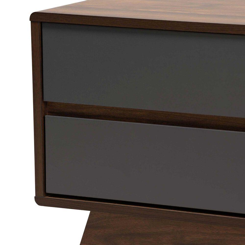 Baxton Studio Koji 2-Drawer TV Stand in Grey and Walnut, , large
