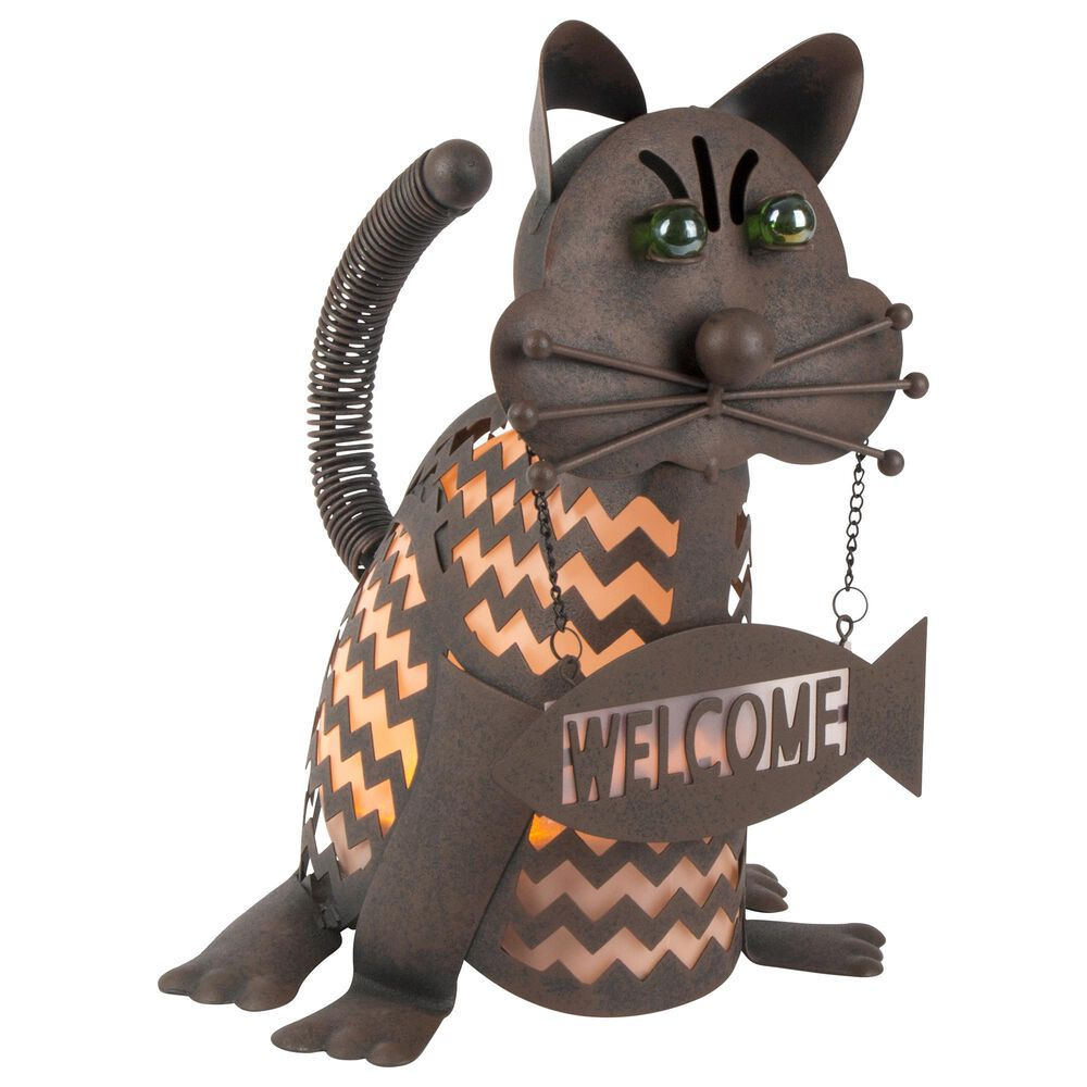"""The Gerson Company 12.85"""" Solar Lighted Garden Welcome Cat in Rustic Brown, , large"""