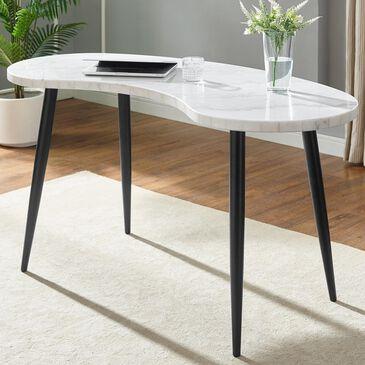 Crystal City Kinsley Desk in White Marble Veneer and Ebony, , large