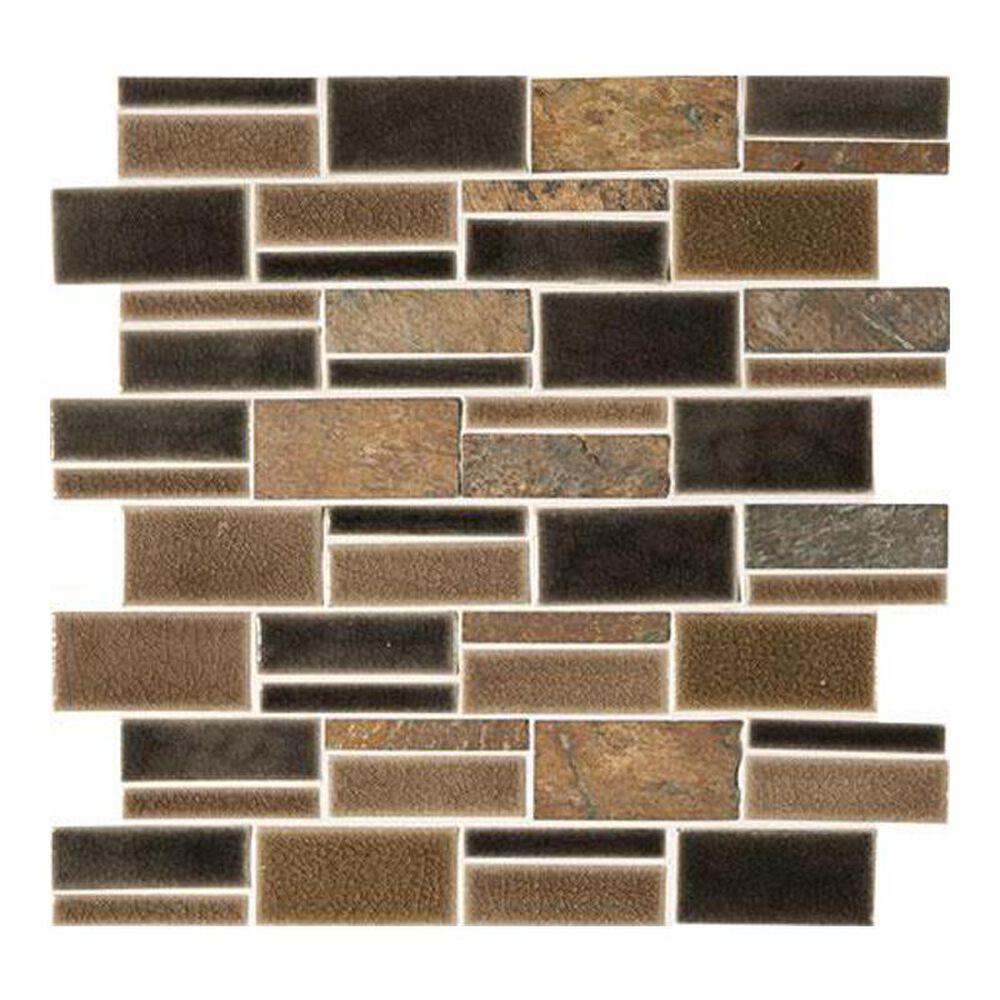"Marazzi Midpark Mosaics Bark 13"" x 12"" Porcelain Mosaic Sheet, , large"