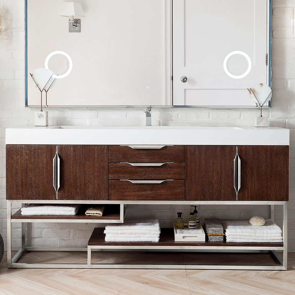 James Martin Columbia 72 Single Bathroom Vanity Cabinet In Coffee Oak And Brushed Nickel Nebraska Furniture Mart
