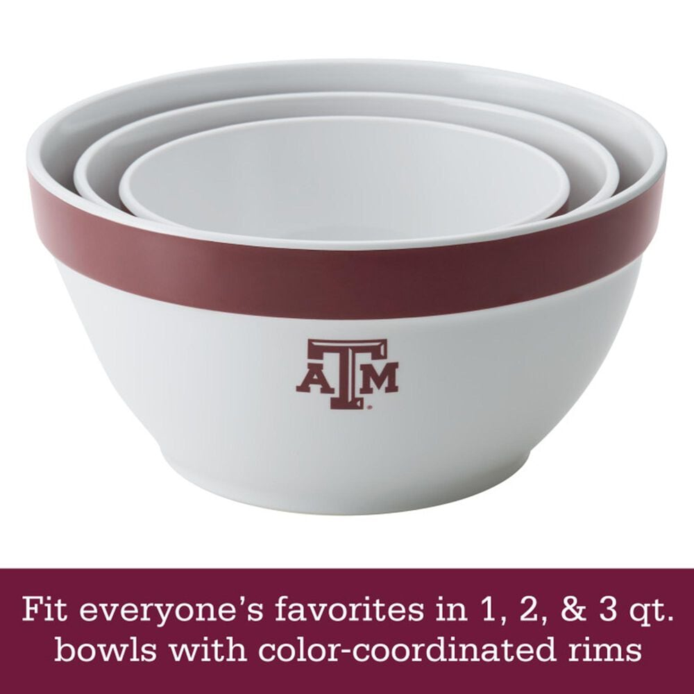 Texas A&M University 3-Piece Mixing Bowls in White, , large