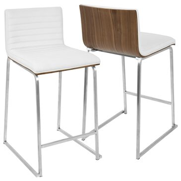 "Lumisource Mara 26"" Counter Stool in White/Walnut/Stainless Steel (Set of 2), , large"