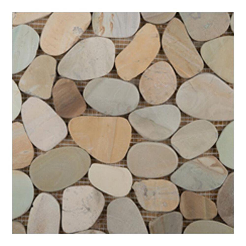 "Emser Flat Venetian Pebbles Pastel Blend 12"" x 12"" Natural Stone Mosaic Sheet, , large"