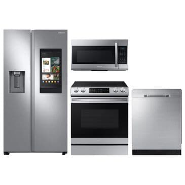Samsung 4-Piece Kitchen Package with 22 Cu. Ft. Side-by-Side Refrigerator and Pocket Handle Dishwasher in Stainless Steel, , large