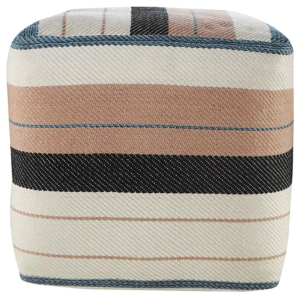 L.R. RESOURCES Stripe Outdoor Pouf in Blue, White, Pink and Black, , large