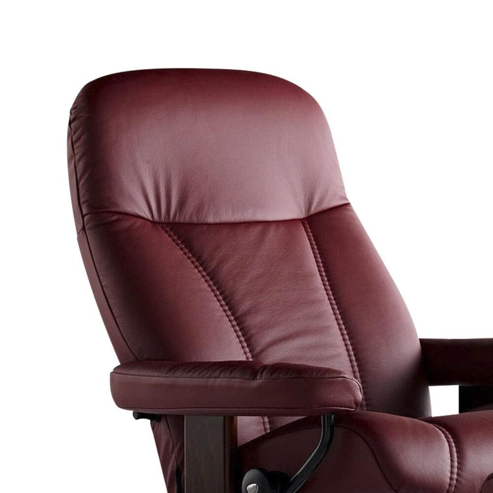 Ekornes Stressless Consul Chair and Ottoman in Batick Burgundy, , large