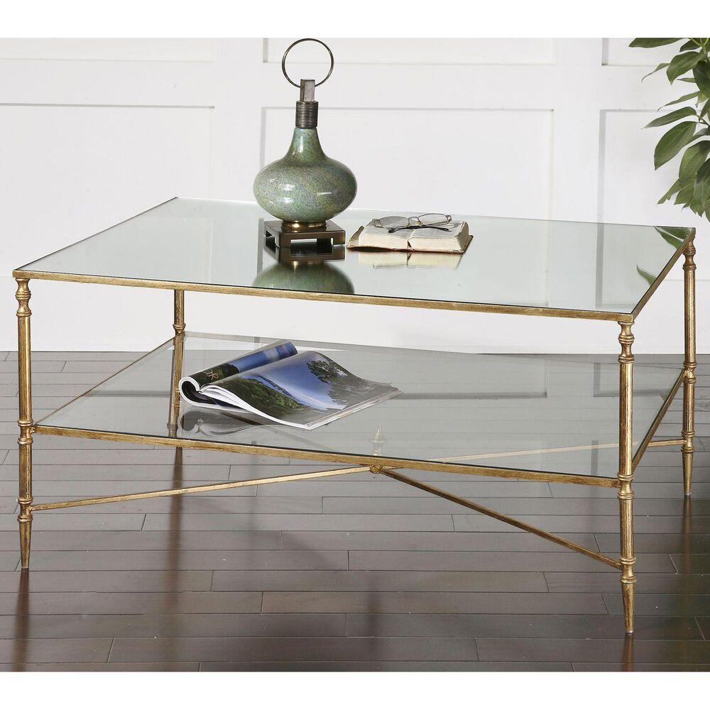 Uttermost Henzler Coffee Table in Antiqued Gold Leaf, , large