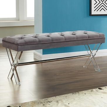Blue River Joanna Ottoman Bench in Gray and Acrylic, , large