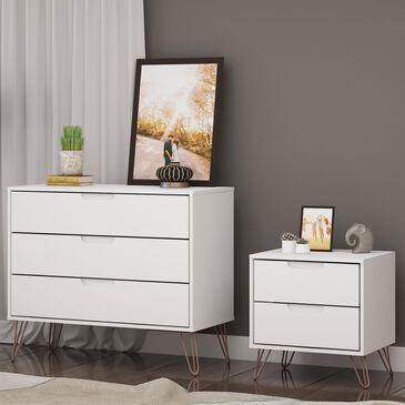 Dayton Rockefeller 2 Piece Dresser & Nightstand Set in White (Set of 2), , large