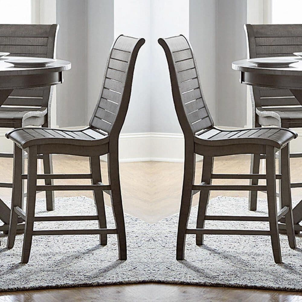 Tiddal Home Willow Counter Chair in Distressed Dark Gray (Set of 2), , large