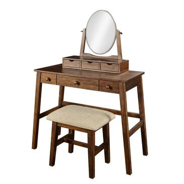 Linden Boulevard Vanity and Bench Set in Warm Brown, , large
