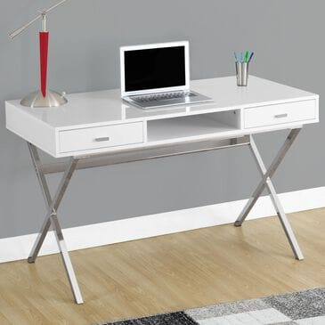 """Monarch Specialties 48"""" Computer Desk in White, , large"""