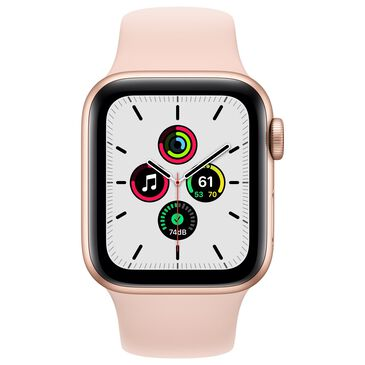 Apple Watch SE GPS + Cellular 40mm with Pink Sand Sport Band in Gold with AppleCare+, , large