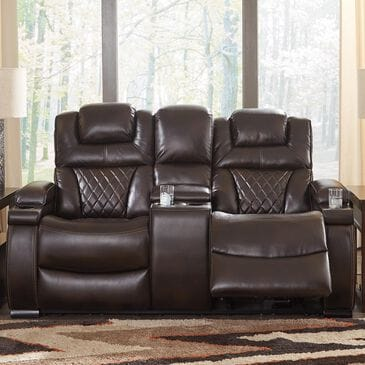 Signature Design by Ashley Warnerton Power Recliner Loveseat with Console in Chocolate, , large