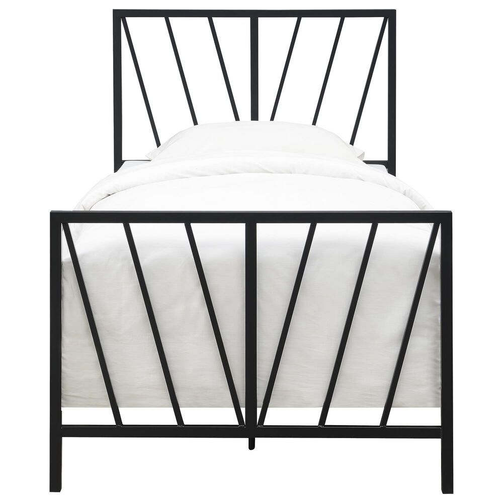 Accentric Approach Twin Metal Slat Bed in Black, , large