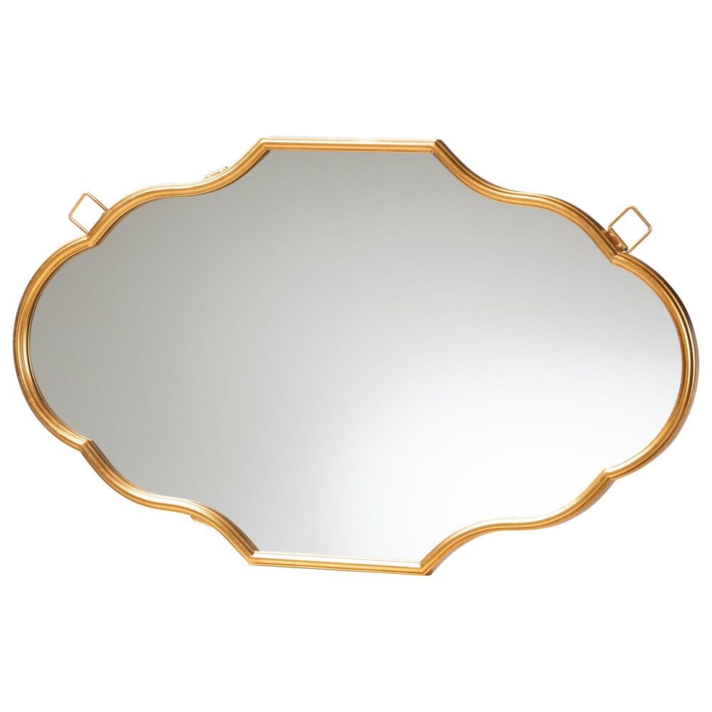 Baxton Studio Dennis Accent Wall Mirror in Gold, , large