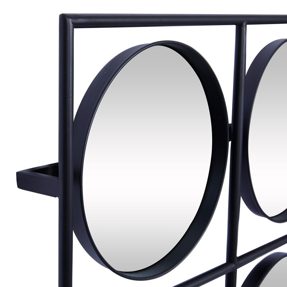 """Maple and Jade 28"""" x 28"""" Metal Wall Mirror Black, , large"""