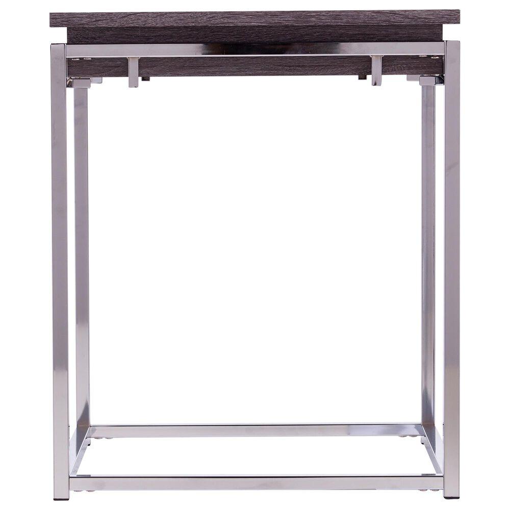 Southern Enterprises Lallston End Table in Chrome and Black Oak, , large