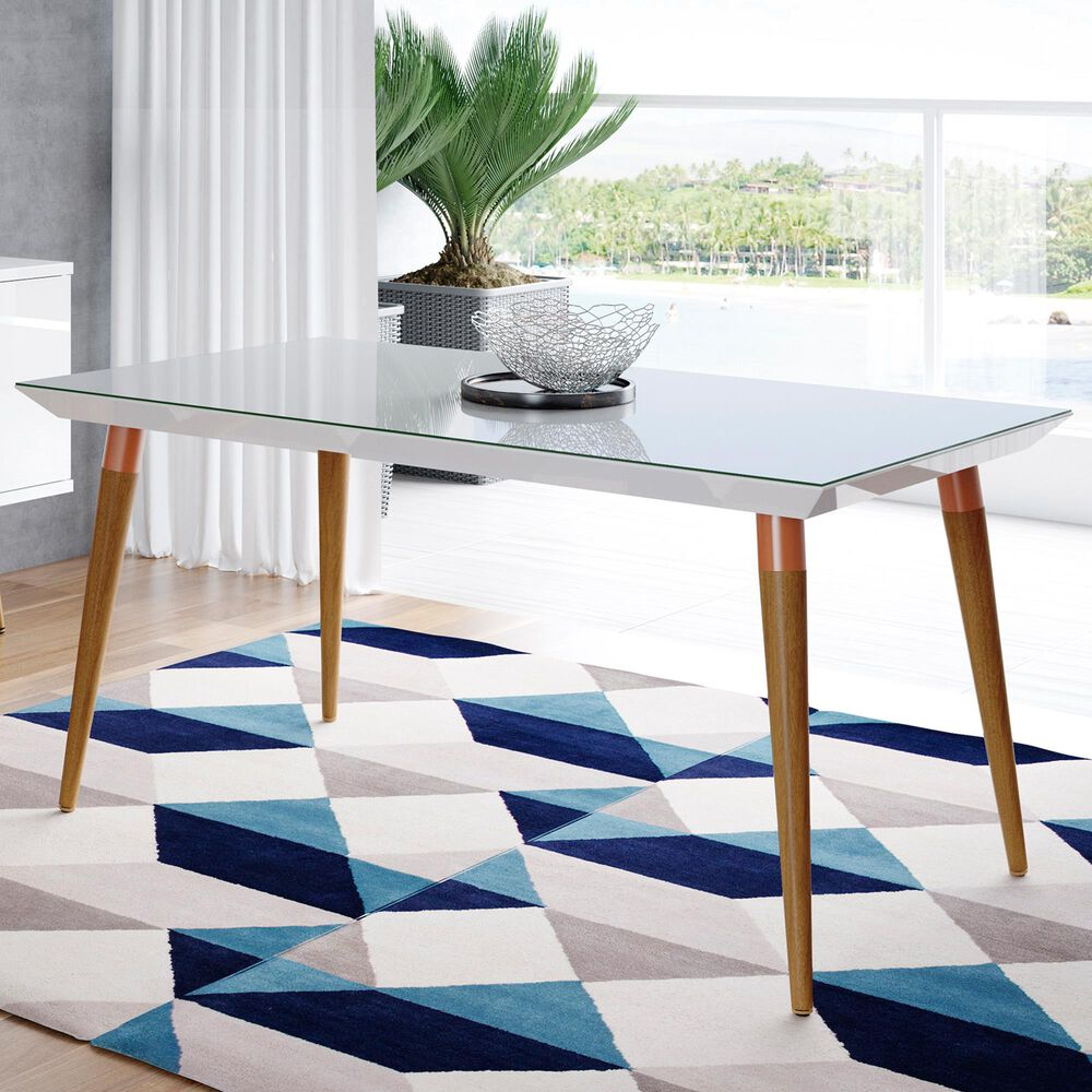 """Dayton Utopia 62.99"""" Rectangular Dining Table in White Gloss and Maple Cream - Table Only, , large"""
