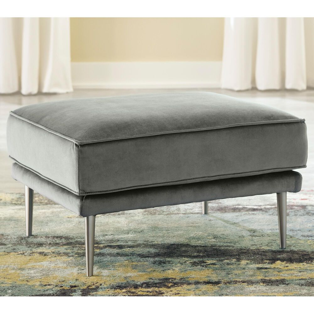 Signature Design by Ashley Macleary Ottoman in Steel Velvet, , large
