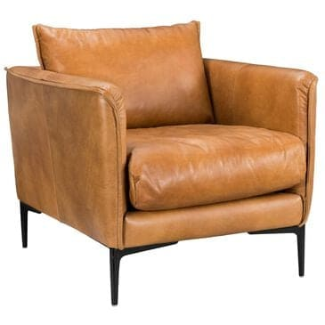 Greenbrier Interiors Abigail Leather Club Chair in Brown, , large