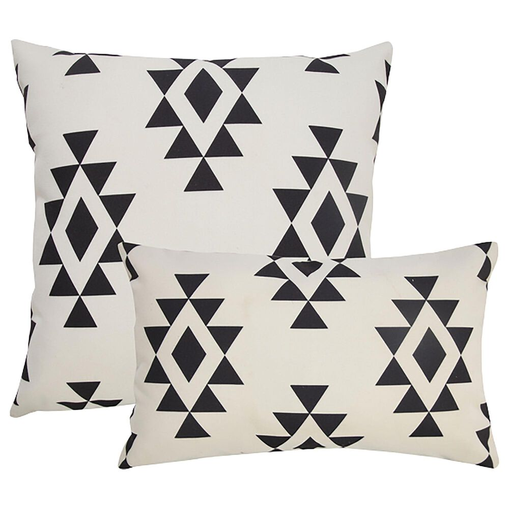 """L.R. RESOURCES 14"""" x 20"""" Diamond Outdoor Pillow in White and Black, , large"""