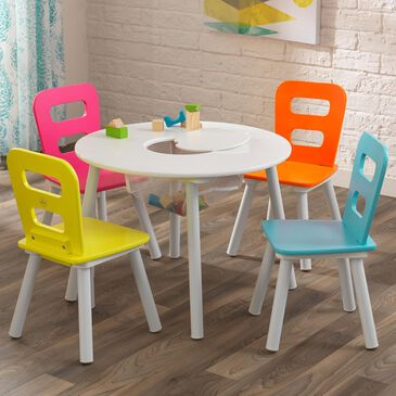 Kidkraft 5 Piece Round Storage Table Set in Highlight, , large