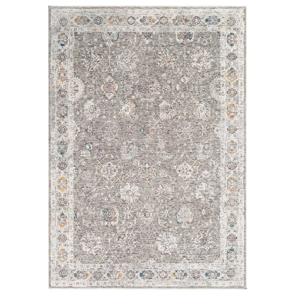 """Surya Presidential PDT-2307 5"""" x 8"""" Gray and Orange Area Rug, , large"""