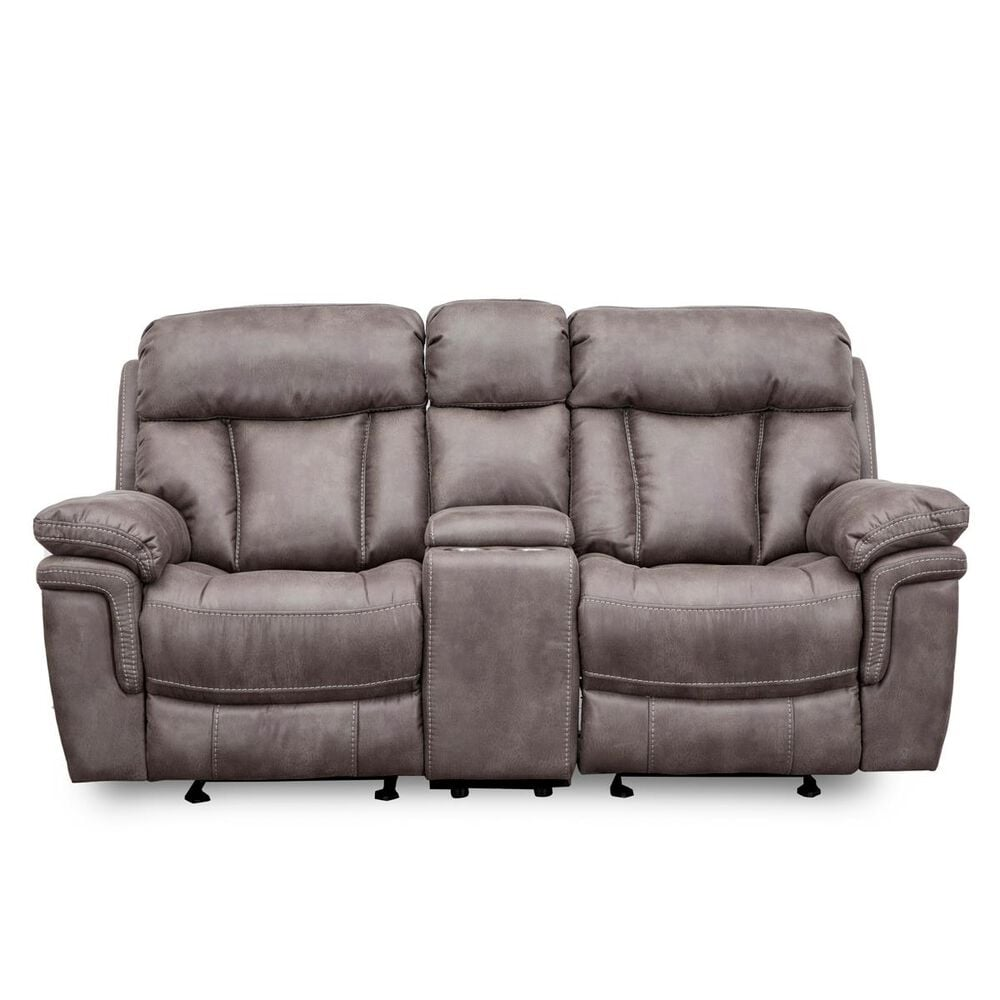Oxford Furniture Dual Glider Console Reclining Loveseat in Gunmetal Gray, , large
