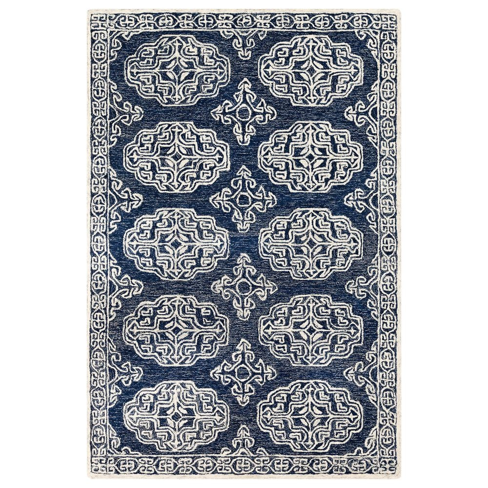Surya Granada GND-2308 2' x 3' Dark Blue, Ivory and Charcoal Scatter Rug, , large