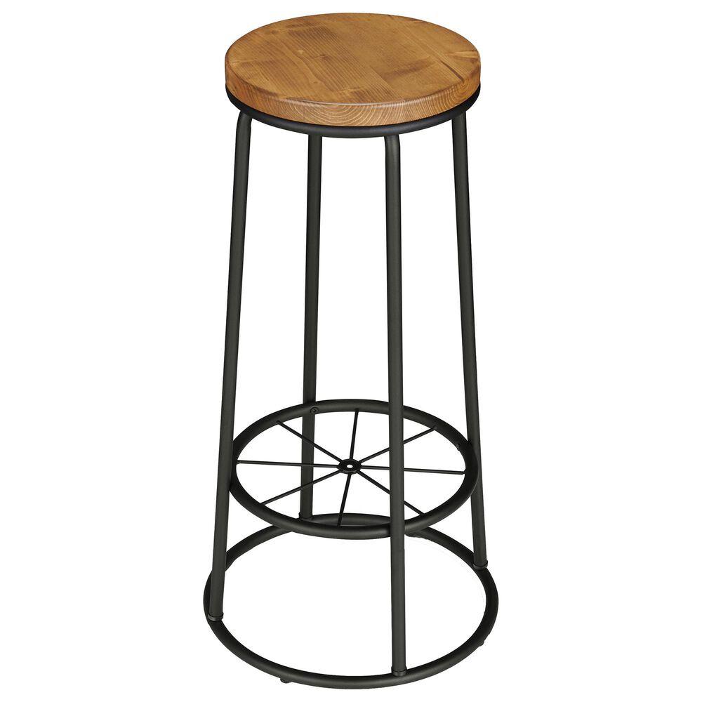 Furniture of America Whitehead Barstool in Warm Oak/Black (Set of 2), , large