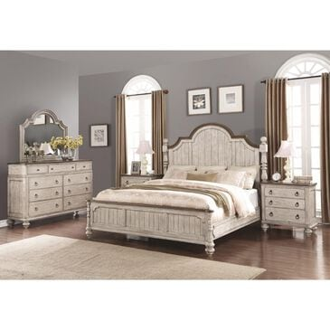 Flexsteel Plymouth 4 Piece Queen Poster Bedroom Set in Distressed Gray and White, , large