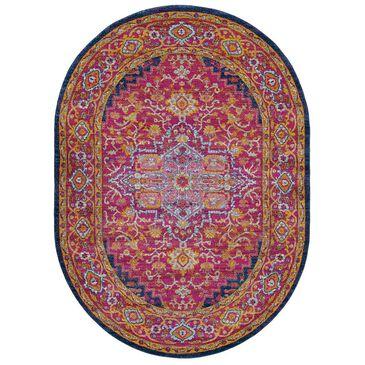 "Surya Harput HAP-1009 6'7"" x 9' Oval Garnet, Blue and Saffron Area Rug, , large"